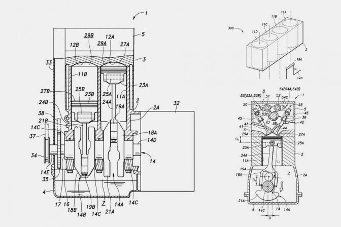 Патент на двигатель с поршнями различной длинны